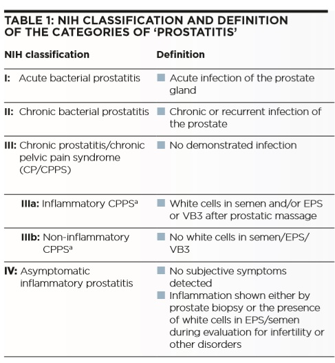 Chronic prostatitis and chronic pelvic pain syndrome - Part 1 - Table 1